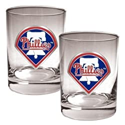 Philadelphia Phillies 2pc Rocks Glass Set - Primary Logo MLB Baseball