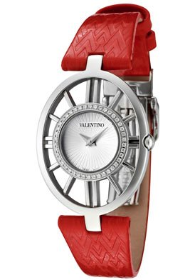 Valentino Watches Lizard Leather Watch with Diamonds in White, Red & Silver Tone
