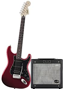 Squier by Fender Strat HSS Electric Guitar Pack w/ GDEC Jr., Candy Apple Red