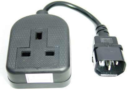 Power cable - IEC C14 plug - 13A socket - 25 cm