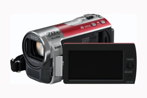 Panasonic SDR-S50 Camcorder SD Card, X78 Enhanced Optical Zoom, Wide Angle Lens, iA + Af Tracking and Optical Image Stabilisation - Red