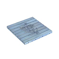 Style My Way Hand Carved Steam Beach Wood Blue Square Trivet - 8in X 8in