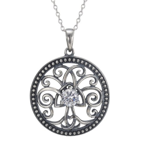 Sterling Silver Simulated Diamond Oxidized Celtic Tree of Life Pendant Necklace, 18″