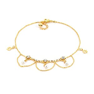 Pugster Clear White Crystal 18k Gold Plated Pearls And Stars Ankle Bracelet For Women