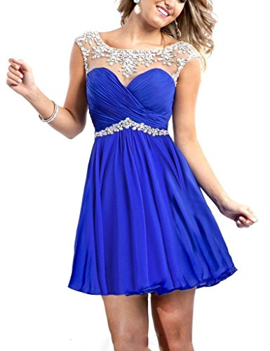 Sexy Beaded Party Dresses for Junior Summer Beach Gown, 4, Royal Blue