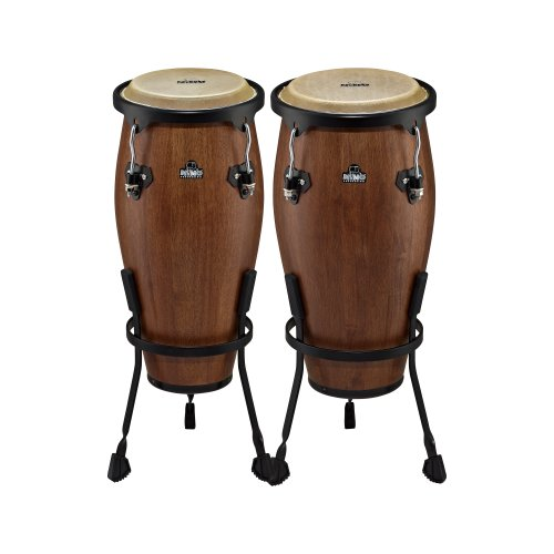 Nino Percussion Nino89Wb-M 8-Inch And 9-Inch Wood Conga Set With Stands, Walnut Brown