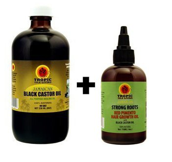 "Tropic Isle Living Jamaican Black Castor Oil 8oz & Strong Roots Red Pimento Hair Growth Oil 4oz ""SET"""