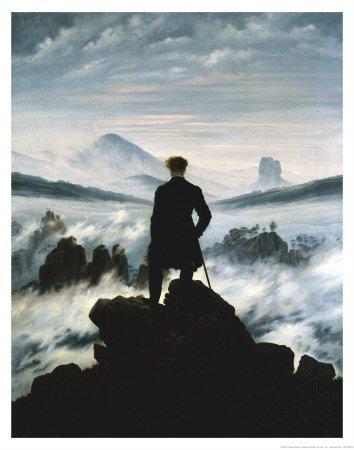Stampa artistica 'Viandante sul mare di nebbia, ca. 1818', per Caspar David Friedrich, Dimensione: 56 x 71 cm