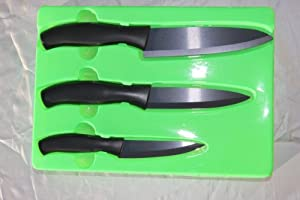 """Healthy Legend Deluxe Ceramic Knife Set in black blades of 4"""", 5"""" 6"""" - Black is harder than white blade"""