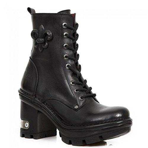 NEWROCK New Rock NEOTYRE 07 S1 Stivali Donna in pelle nera goth metallic plateau e tacco (37)