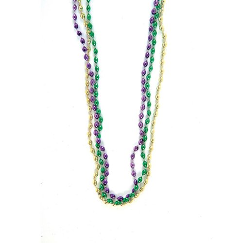 Mardi Gras Oval Bead Necklaces (12 per order)
