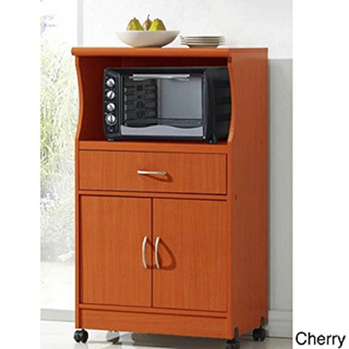 Microwave Cart Stand - Cherry Finish - One Shelf For The Microwave And Another Shelf Above Plus A Drawer And Cabinet Below