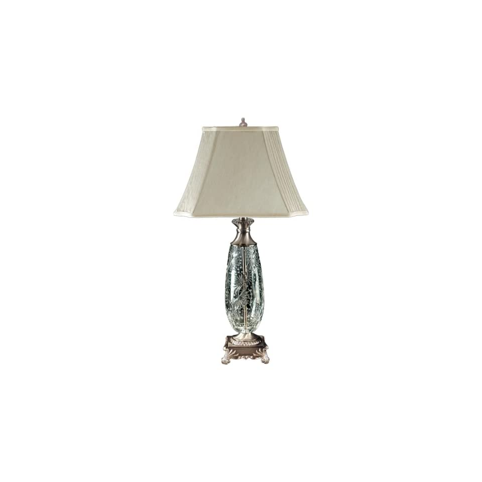 Dale Tiffany GT80115 Luciana Crystal Table Lamp, Antique Pewter and Fabric Shade