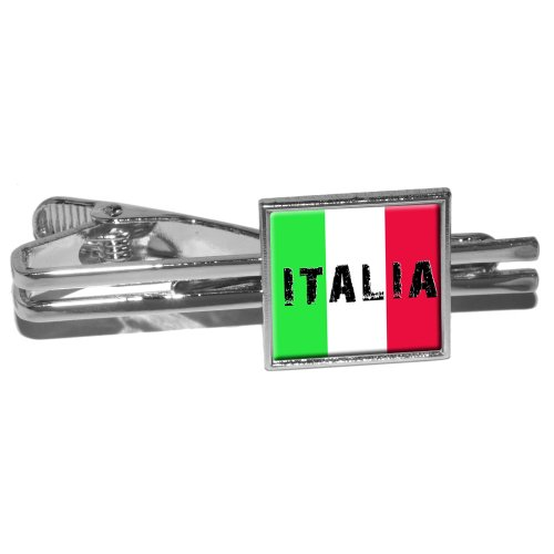 Graphics and More Italia - Italy Italian Flag Round Tie Bar Clip Clasp Tack - Silver (Italian Flag Cufflinks compare prices)