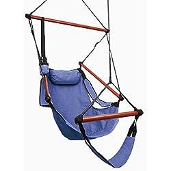 Kinlo® Amaca a poltrona con braccioli e poggiapiedi, Poliestere, Portata 100 kg, Blu