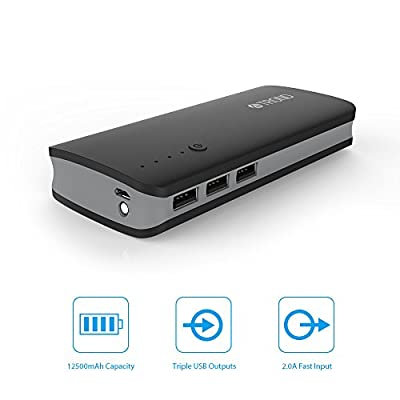 Portable Charger, TROND® Bolt 12500mAh Power Bank External Battery Pack (Triple USB Outputs, 2.0A Input), for iPhone 6 6S Plus 5S 5C 5, Samsung Galaxy S6 Edge+ S5 S4 S3 Note 5 4 3, Gopro & More