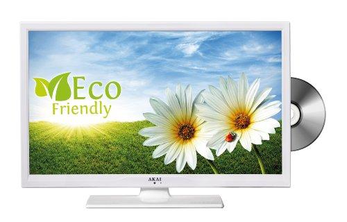 Akai ALED2209TWE 55,9 cm (22 Zoll) LED-Backlight-Fernseher, EEK A (Full HD, DVB-T/-C, DVD, USB 2.0) matt-weiß