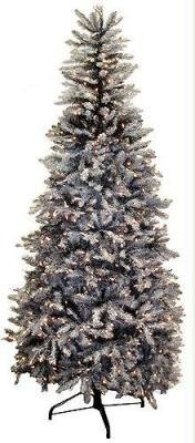 7.5' Slim Glittery Black Snowy Dunhill Pre-Lit Artificial Christmas Tree