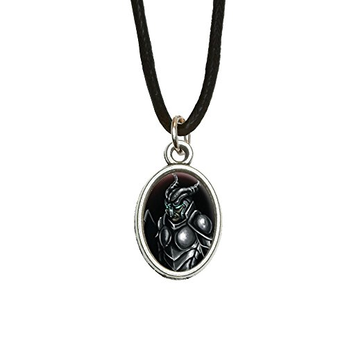 Knight Armor - Medieval Warrior Dragon Slayer Fantasy Antiqued Oval Charm Pendant with Black Satin Cord