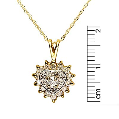 Ivy Gems 9ct Yellow Gold and .015ct Diamond Heart Birthstone Pendant on 18 Inch Chain