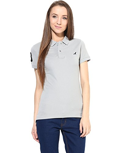 American-Crew-Womens-Polo-Collar-Solid-With-Applique-T-Shirt-Grey