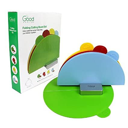 Cutting Board Set- Index Folding Colored Coded Chopping Board Set by Good Cooking (Curved)