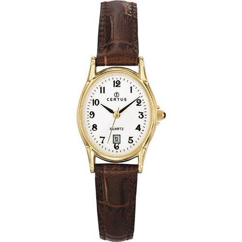 Certus 646545-Ladies Watch-Analogue Quartz-White Dial-Brown Leather Bracelet