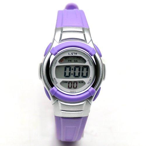 Sinceda Unisex Children Multi Function Luminous Analog Digital Electronic Lcd Watch Purple Strap