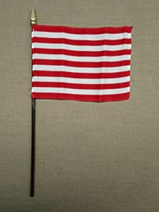 """Sons of Liberty 1765 Liberty Tree Flag Hand Held Desk Table Top Polyester Flag 4"""" X 6"""" on 10"""" Black Plastic Staff with Gold Spear Tip (12 Pack)"""