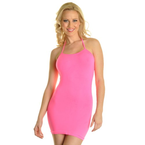 Angelina Neon Color Halter Style Seamless Mini Dress