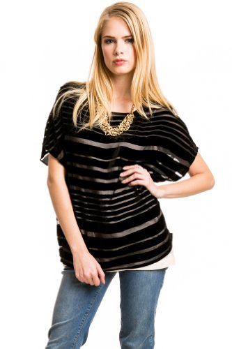 Velvet Striped Top with Camisole in Black
