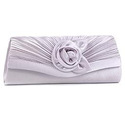 Damara Women\'s Satin Pleated Flower Front Evening Bag Clutch Handbag,Silver