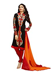 Women's Black & Red Straight Fit Faux Georgette Semi Stitched Suit