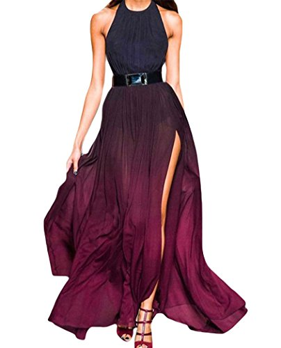 PAKULA Women's Halter Bohemian Chiffon Formal Long Party Gown Prom Evening Maxi Dress