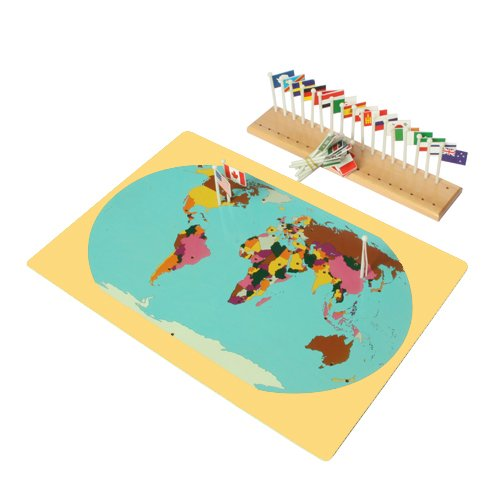 Montessori World Map, Flags and Stand