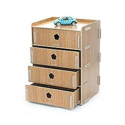 NATAMO DIY Wooden Desktop Organizer 4 Compartment File Cabinet Drawer Storage Paper Shelf Literature Sorter For Home/Office,Brown