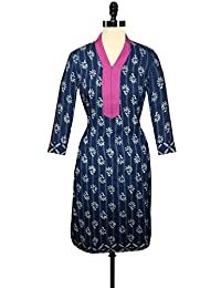 Unnati Silks Women Pracheen Kala Navy Blue Cotton Dabu Printed Kurta - B00WO8YPQQ