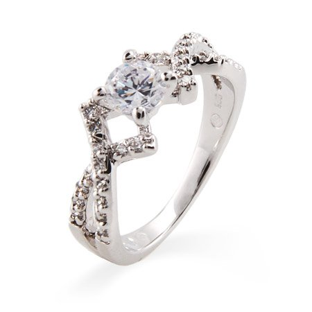 Elegant Brilliant Cut CZ Promise Ring with Cross Design Size 8 (Sizes 5 6 7 8 9 Available)