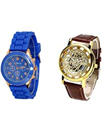 COSMIC COMBO WATCH- DARK BLUE STRAP ANALOG WATCH FOR WOMEN AND BROWN ANALOG SKELETON WATCH FOR MEN