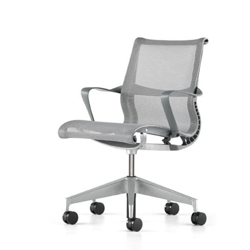 Setu Home Office Desk Task Chair by Herman Miller - 5 Star Base, Slate Grey with Arms