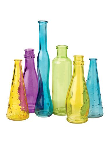 Glass Bottle Tree Bottles Pastel, Set of 6