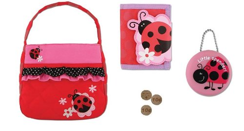 Stephen Joseph Girls Quilted Purse, Wallet, Coin 4 Pc Set