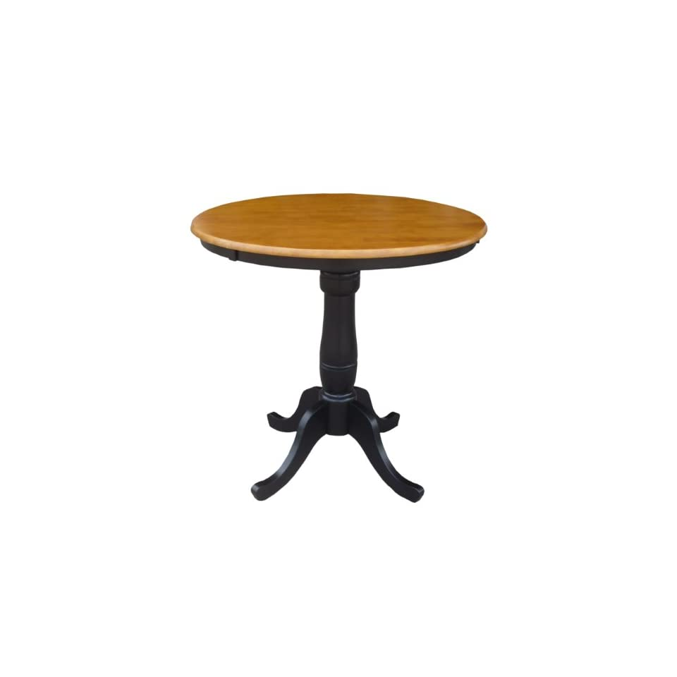 International Concepts 36 Inch Round By 36 Inch High Top Ped Table Black Che