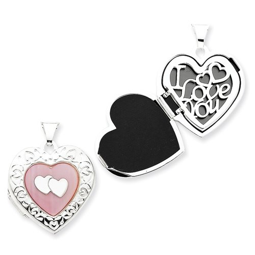 Sterling Silver Pink Mother of Pearl 21mm Double Heart Locket