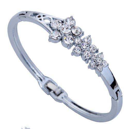 Yazilind Jewelry Grace Silver Plated Double Flower Carve Crystal Charming Bangle Bracelet Lady 2.2