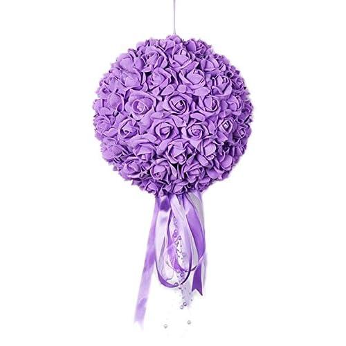 (ラボーグ)La Vogue ウェディング 造花 結婚式 ブーケ 豪華絢爛 フラワー 花束 バラ 飾りつけ PE 混色 カラフル インテリア 祝い 28cm 4色 (Dパープル・ローズ)