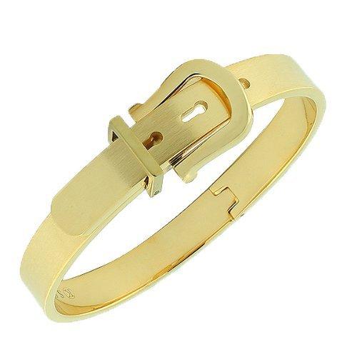 Stainless Steel Yellow Gold Tone Belt Buckle Handcuff Womens Bangle Bracelet