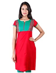 Chinese Red Cotton Kurta With Green Embroidered Yoke From ESTYLe