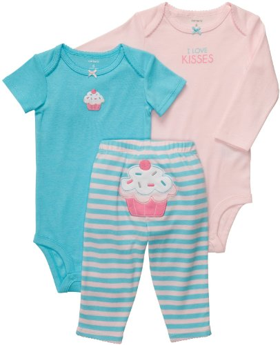 Carter's Baby Girls' 3 Pc Turn Me Around Set - Turquoise/Pink Cupcake - 24 Months