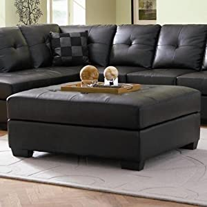 New==>> Coaster Ottoman with Button Tufted Cushion in Black ...